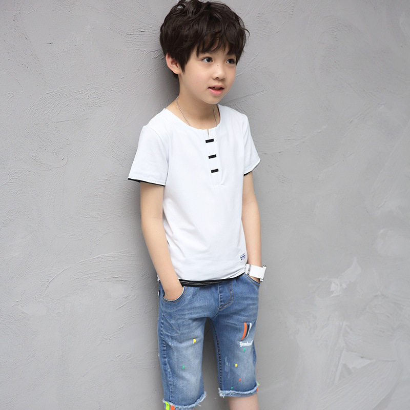 где купить Kids boys summer 2 pcs set 2017 new baby boy clothing fashion T-shirt + denim shorts leisure suit 4/5/6/7/8/9/10/11/12/13/14 дешево