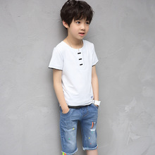 Kids boys summer season 2 pcs set 2017 new child boy clothes trend T-shirt + denim shorts leisure go well with four/5/6/7/eight/9/10/11/12/13/14