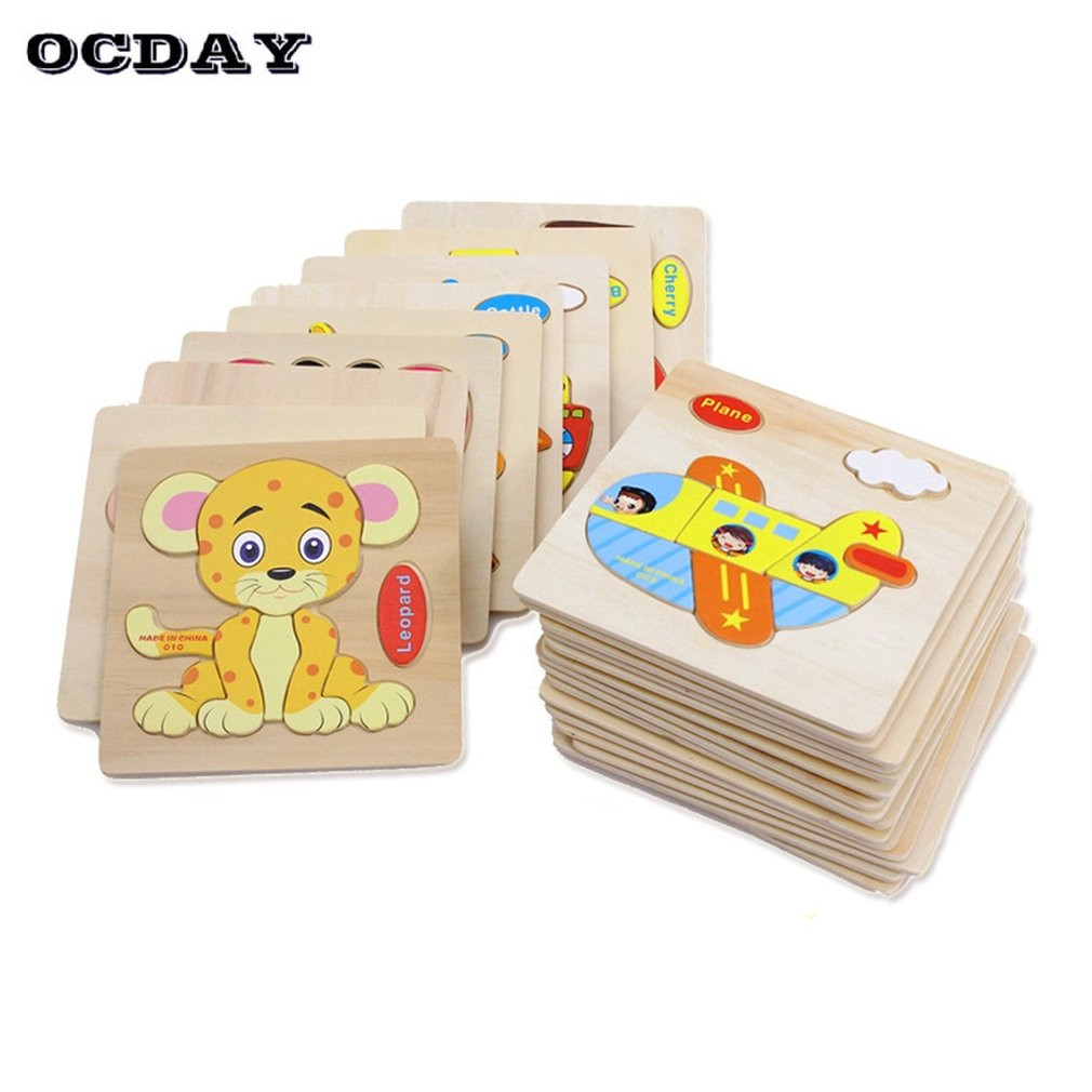 Ocday Kids 3d Puzzle Jigsaw Wooden Toys Cartoon Animal