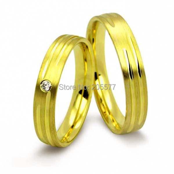 Анель Ору его и ее классический Дизайн Титан ручной работы Желтая Позолота обручальные кольца verlobungsringe