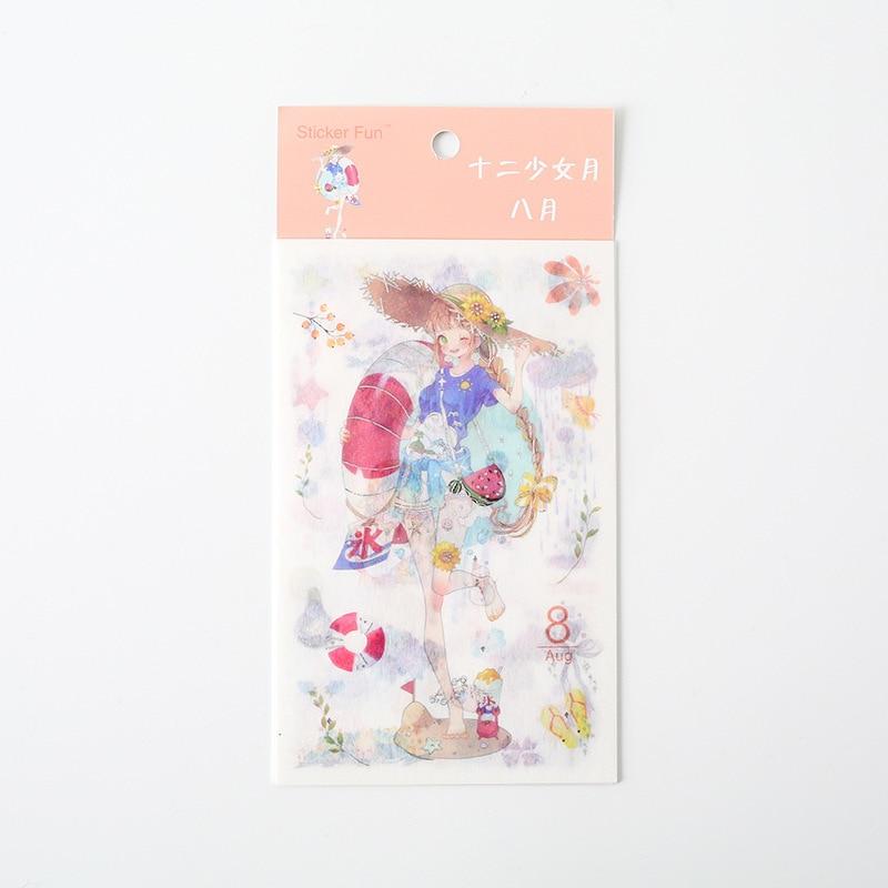 Kawaii Милая наклейка для девочки в стиле декабрина и ветра, декоративная наклейка для ноутбука, декоративная наклейка для рисования, канцелярские товары - Цвет: 8