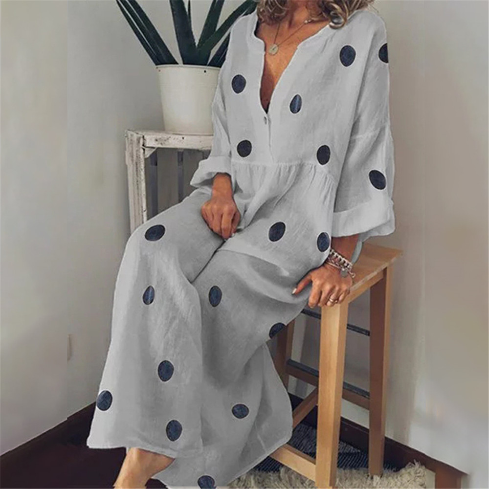 Tunic Maxi-Dress Cover-Up Beaching Women Long-Dot Print Sleeve Vestidos-De-Festa