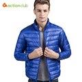 Novos Homens Outono/Inverno Pato Branco Para Baixo Jaqueta Ficar Jaqueta gola 7 Cores Ultra Luz de Viagem de Bolso Portátil Quente casaco Outwear