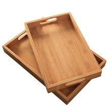 Японский бамбуковый квадратный поднос из цельного дерева чайный набор поднос домашний поднос для завтрака поднос для торта