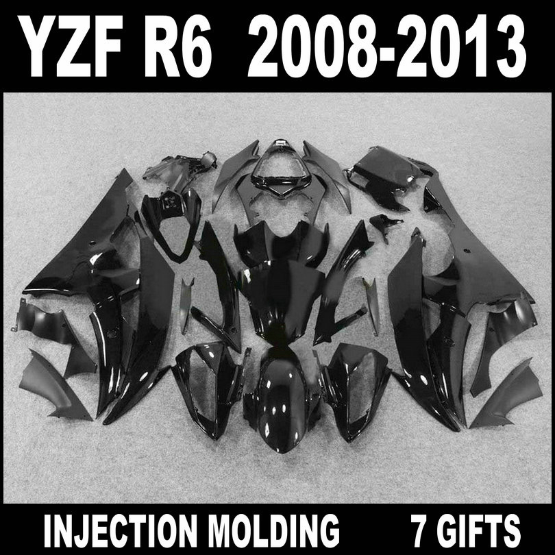 Hot sale Injection mold for YAMAHA <font><b>R6</b></font> <font><b>2008</b></font> 2009 - 2013 glossy flat black <font><b>fairings</b></font> 08 09 10 11 12 13 <font><b>YZF</b></font> <font><b>R6</b></font> <font><b>fairing</b></font> <font><b>set</b></font> FVG74 image