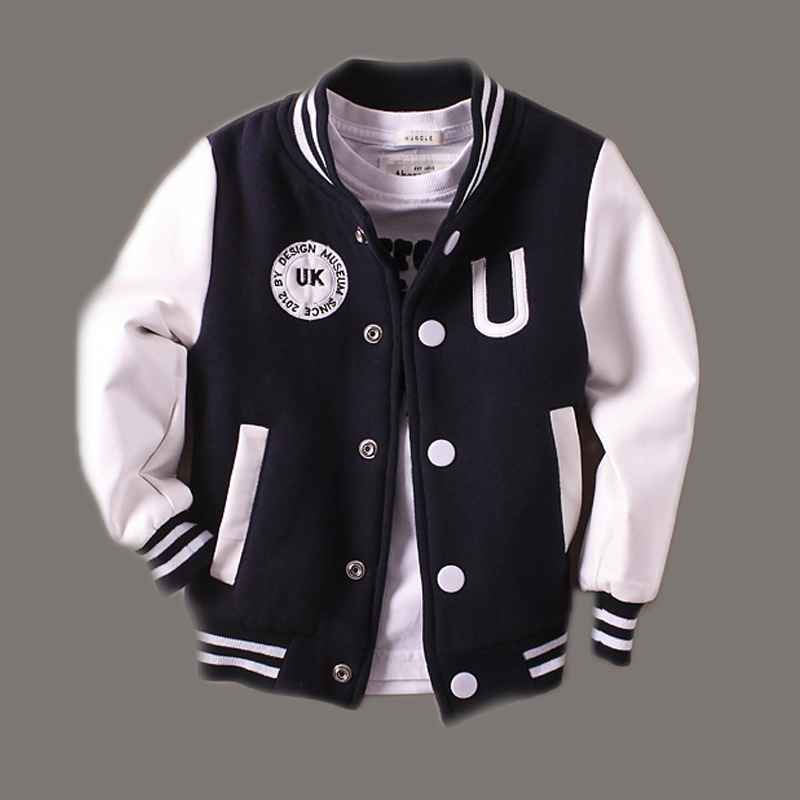 2-14T Baby Boy Clothes Boys Jacket Leather Spring Letter Boys Outwear For Children Kids Coats For Boys Baseball Sweatershirt