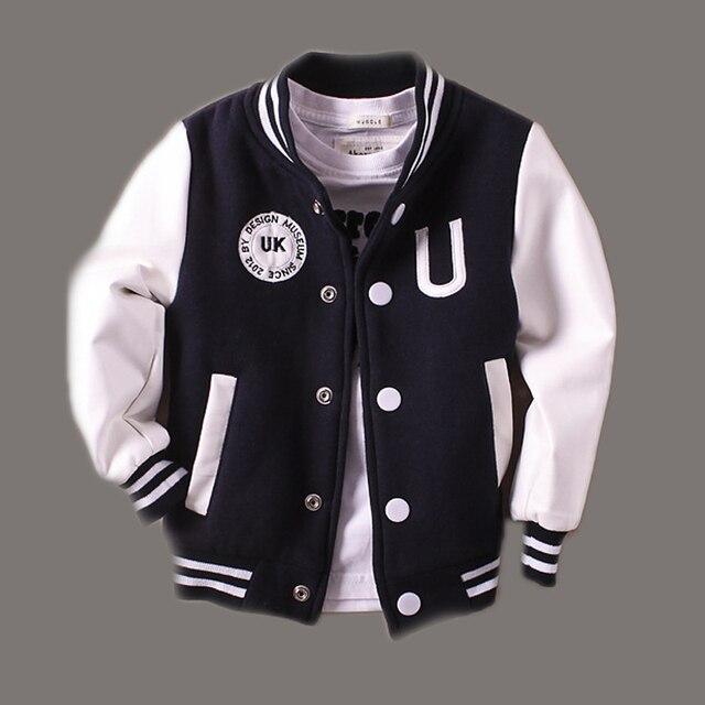 2-14 Т Мальчик Одежда Мальчики Куртки 2017 Весна Письмо Мальчики Верхней Одежды Для Детей Бренда Детей Пальто Для мальчики Бейсбол Sweatershirt