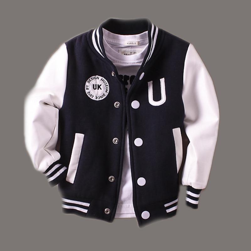 New Boys Winter Jacket 2015 Spring Letter Jackets Outwear For Children Brand Kids Coats Baseball Sweatershirt