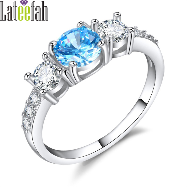 Lateefah Vintage Blue Wedding Rings for Women Created Aquamarine