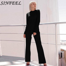 SINFEEL Sweater Knitted Top & Wide Leg Pant Set Women Long Sleeve Elegant Two Pieces 2019 Spring piece Tracksuit clothes
