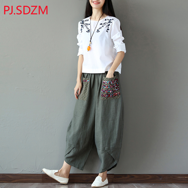 PJ SDZM Spring and Autumn Women Casual Wide Leg Pants National All Match Linen Trousers Female