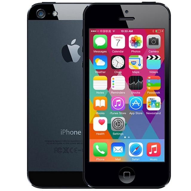 Разблокированный iPhone 5 16 Гб/32 ГБ/64 ГБ Встроенная память двухъядерный 3g 4,0 дюйма Экран 8MP Камера iCloud WI-FI gps IOS OS сотовые телефоны - Цвет: Black