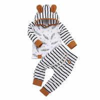 Conjuntos de ropa de bebé niño recién nacido, traje con capucha, Camiseta corta larga, pantalones a rayas, kit de 2 piezas, vetement bébé garçon