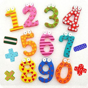 Magnetic Wooden Numbers and Equations (15 Pieces)