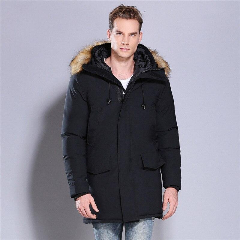 2018 nouveau Hommes de Long Manteau coton Solide de couleur Épais Grand col De Fourrure À Capuchon veste Hommes Parc D'hiver Grand taille S-XL XXL XXXL