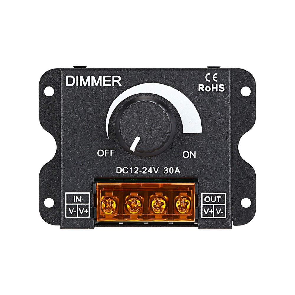 PWM Dimming Controller for LED Strip Light DC 12V 24V Dimmer Knob ON/OFF Switch with Aluminum Housing Single Channel 30A 5050 westbay touching panel led dimmer switch at 12v 24v 144w 12a or 288w 6a power switch on off adjustable light controller