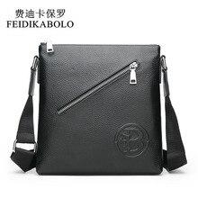FEIDIKABOLO Genuine Leather Mens Bags Male Black Cowhide Cro