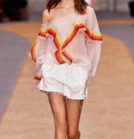 2016SS VogaIn 2016 Fashion Runway Luxury Women Silk Shirt Blouse Slash Neck Long Sleeved With Rainbow