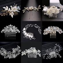 6201b6335b25 Estilo elegante cristal perla de flor pelo joyería de la boda accesorios  para el pelo peine