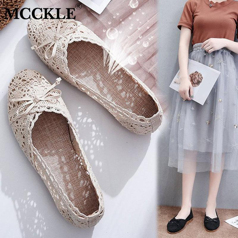 MCCKLE Mesh Lace Shoes Woman Flats Hollow Out Shallow Loafers Bowtie Autumn Ladies Breathable Soft Casual Slip On Sweet Female