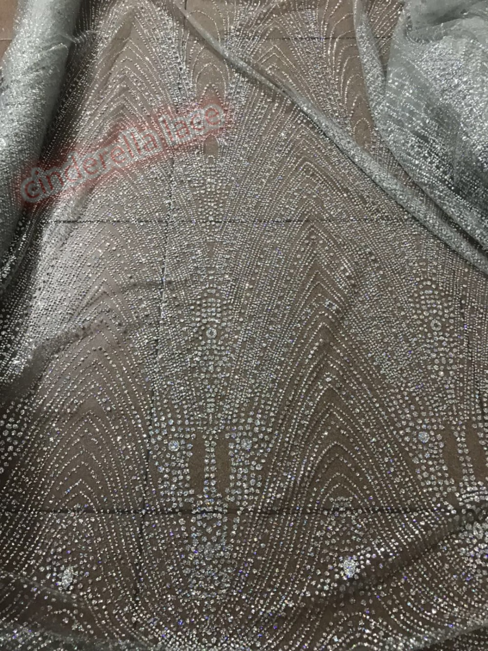 sequin lace fabric Top selling JIANXI C 42063 french african glued glitter sequence lace fabric