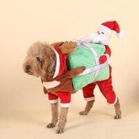 2017 Nuevo Perro de Animal Doméstico Divertido Ropa de Santa Claus Regalo de Transporte caja de Lujo Del Traje de Perrito ropa Chaqueta Abrigo para Perros Gatos suministros