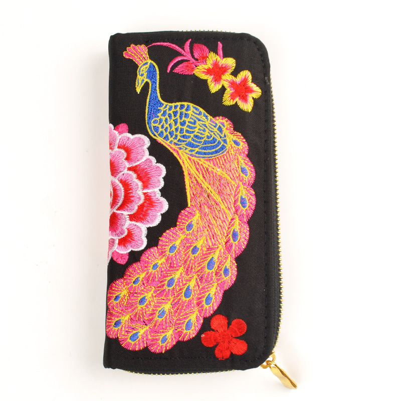 Embroidered Wallet Purse Ethnic-Flowers Women Phone-Handbag Handmade Fashion Long New