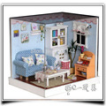 F005 DIY wooden doll house ( with dust cover + LED light ) miniature dollhouse Living room handmade model toys free shipping