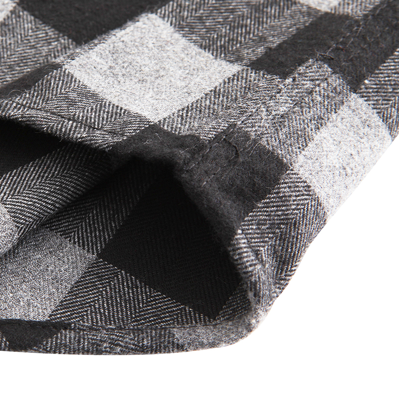 Dioufond Mens Pocket Flannel Plaid Cotton Shirt Long Sleeve Checkered Casual Slim Fit Black Warm Autumn Winter Shirts New 5