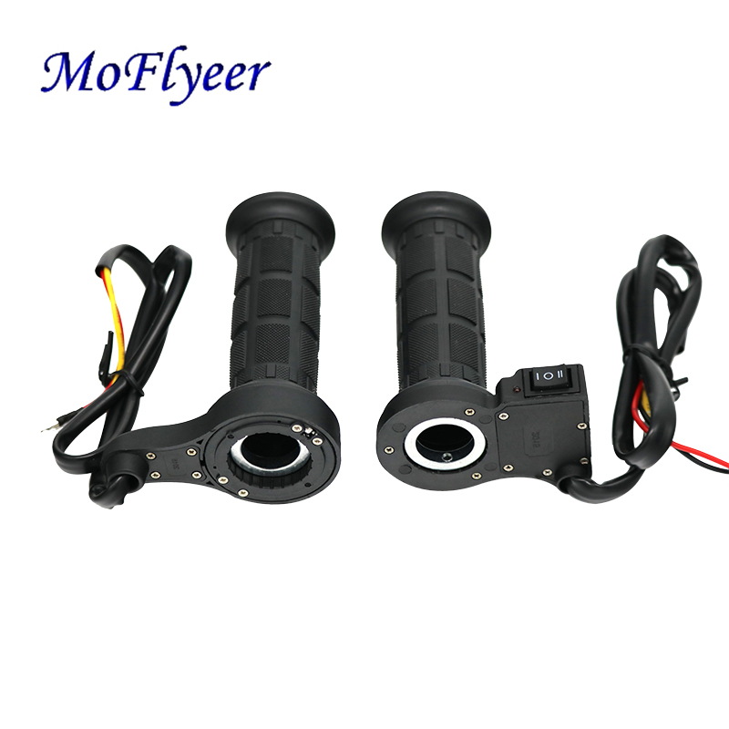 MoFlyeer Motorcycle 22mm Hot Grips Electric Hand Heated Handlebar Warm Handle ATV Warmers Universal Grip Adjustable Temperature