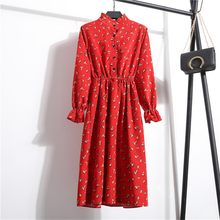 Women Dresses Casual Elastic Waist Stand Neck Printed Floral Velvet Ribbed Dress Woman dresses woman party night Ladies Dress(China)