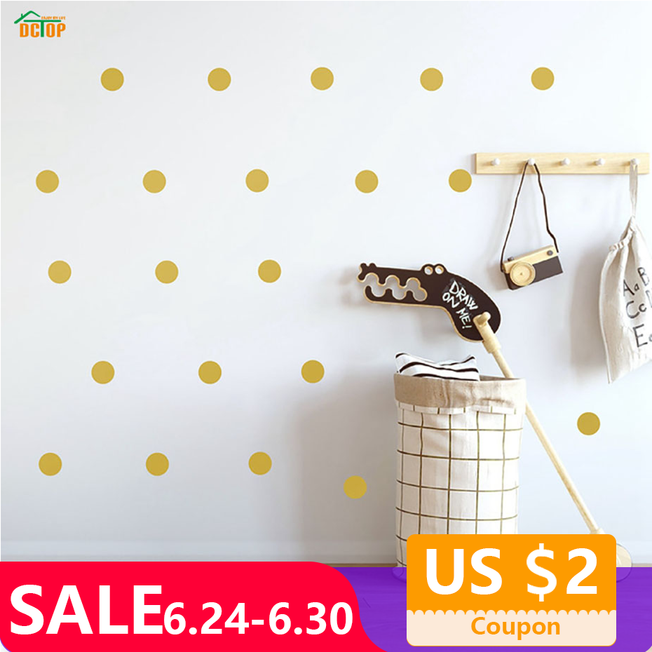 Multicolor Diy Polka Dot Wall Sticker For Kids Rooms Decoration Metallic Gold Black Pink Polka Dots Wall Art Stickers Home Decor
