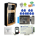 Free Shipping Wireless Wifi Video Door Phone Intercom Metal Doorbell Touch RFID Code Keypad for Android IOS Phone Electric Lock