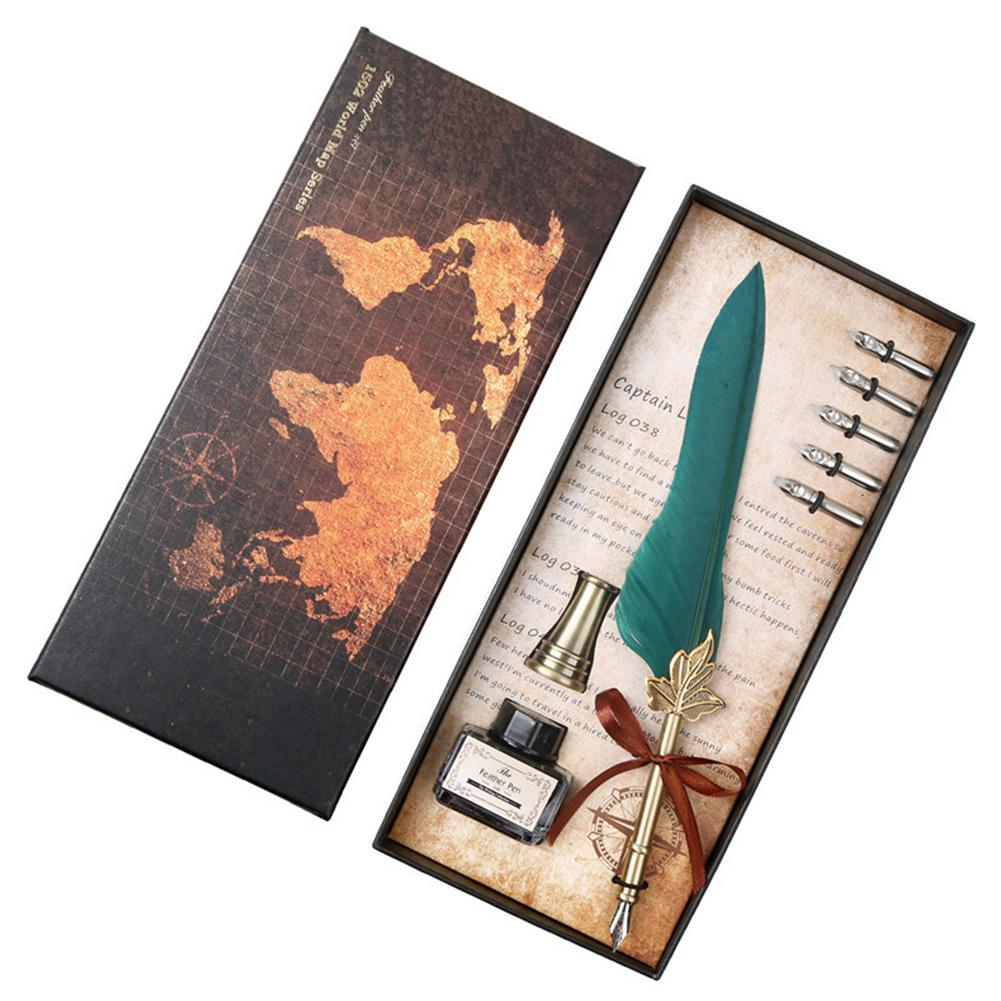 Advanced Retro Natural Quill Pen Set Feather Dip Pen Gift Set Quill Pen Holder Fether Pen Nibs & Empty Ink Bottle R25
