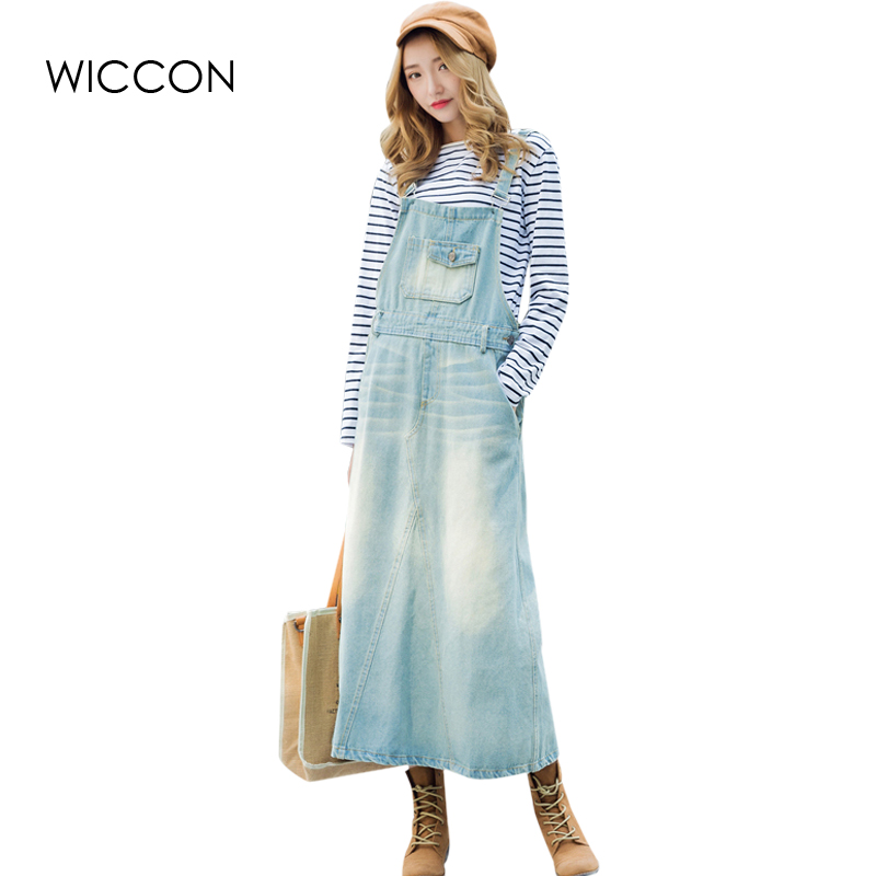 New Arrival Denim Dress Scratched Strap Jeans Women Dress Preppy Style Suspender Denim Sundress Overall Dresses vestidos WICCON