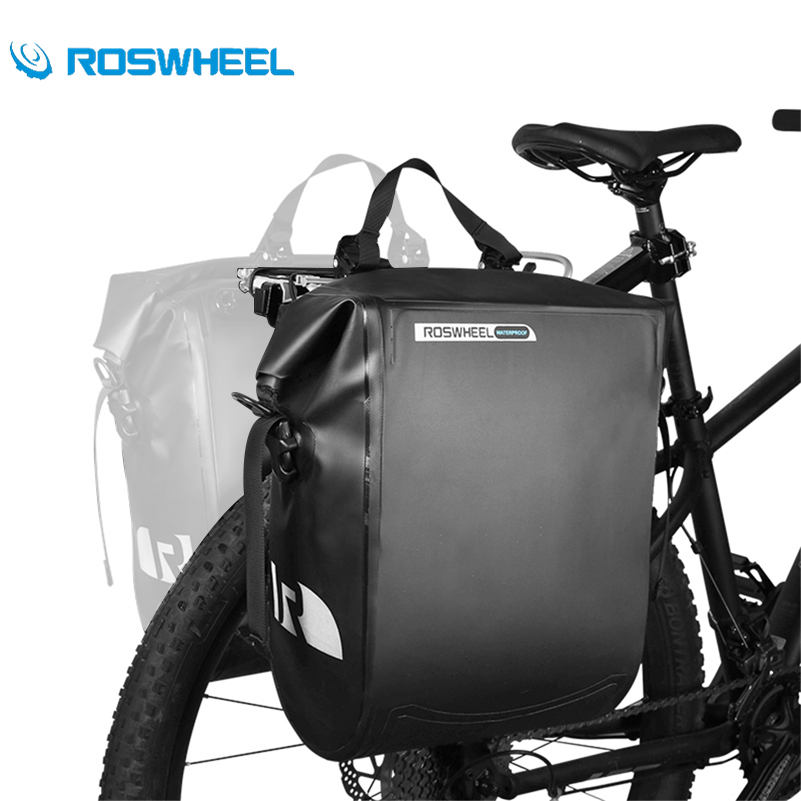 ROSWHEEL Waterproof PVC Bike Carrier Bag Bicycle Pannier Seat Bag Rear Trunk Tote Bag Cycling Unilateral Panniers Bags 20L roswheel 20l multifunctional waterproof bicycle bag black pvc cycling trunk rear tail pack bag riding bike bicycle storage bag