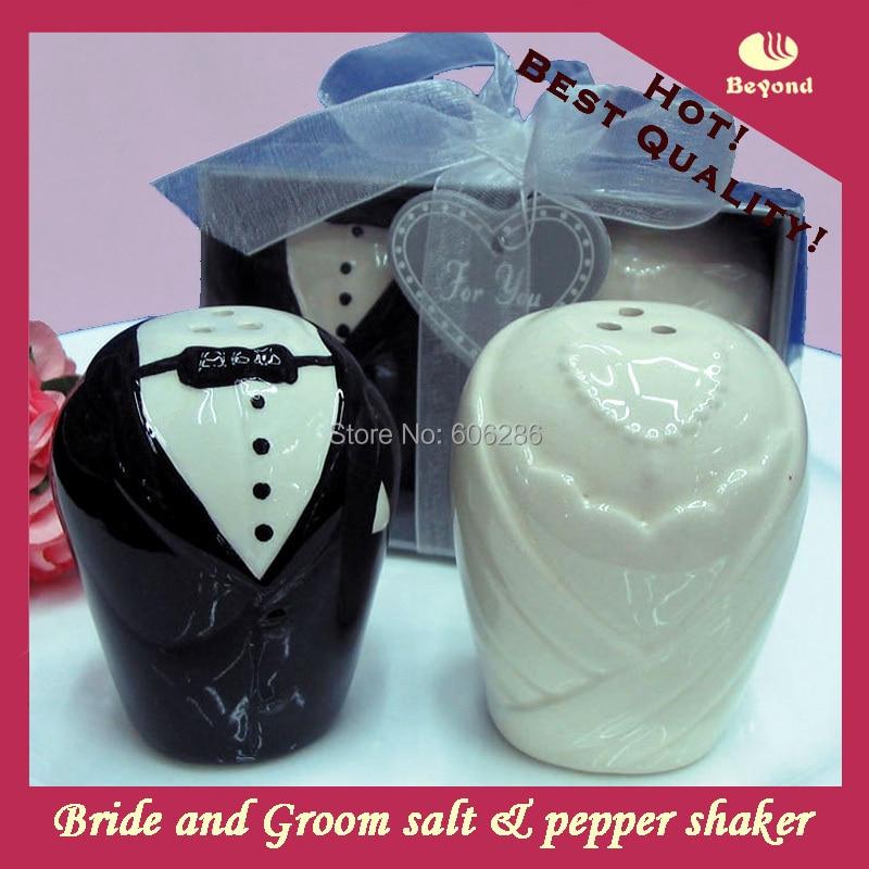 100pcs50setslot Wedding Return Gifts Ceramic Bride And Groom Salt