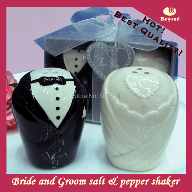 Wedding Gift Delivery Usa : 100pcs=50sets/lot Wedding Return gifts Ceramic bride and groom salt ...