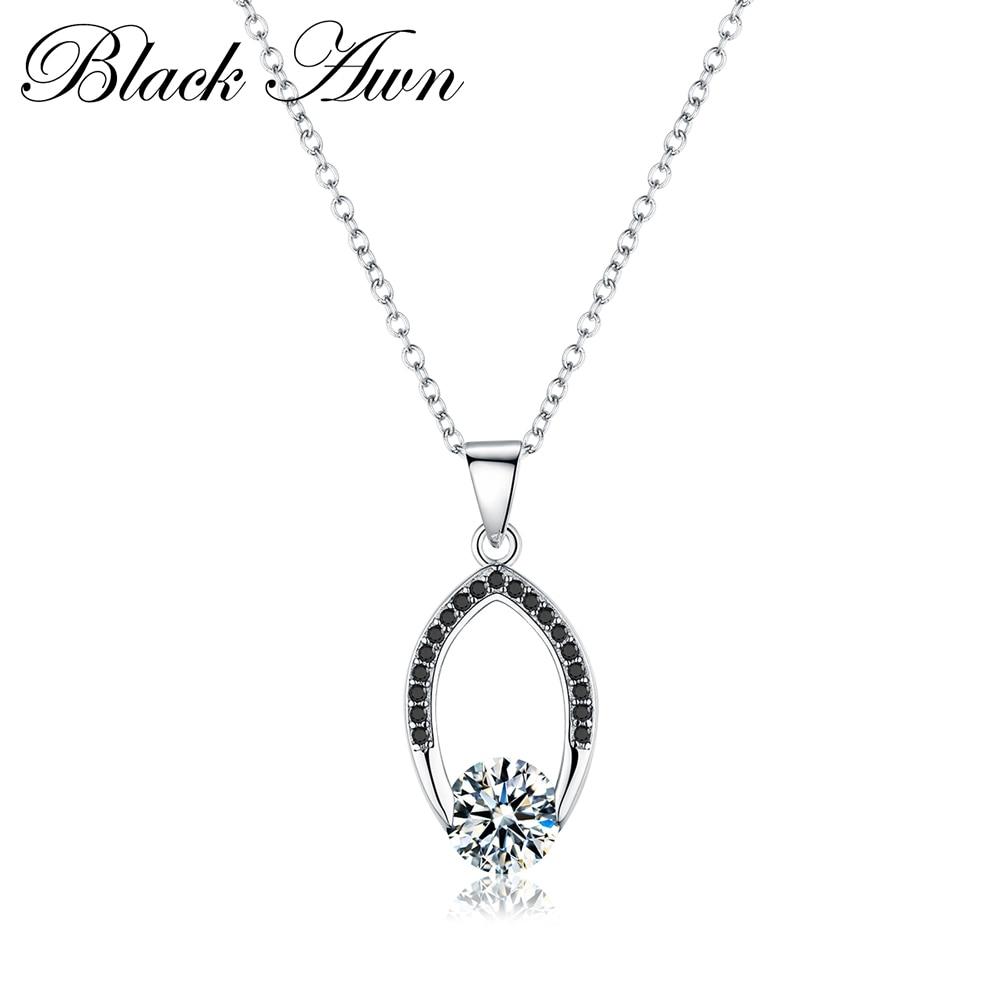 Черное AWN серебряное ожерелье из натуральной 925 пробы серебро слайд-украшения ожерелье женские ожерелья и подвески P086