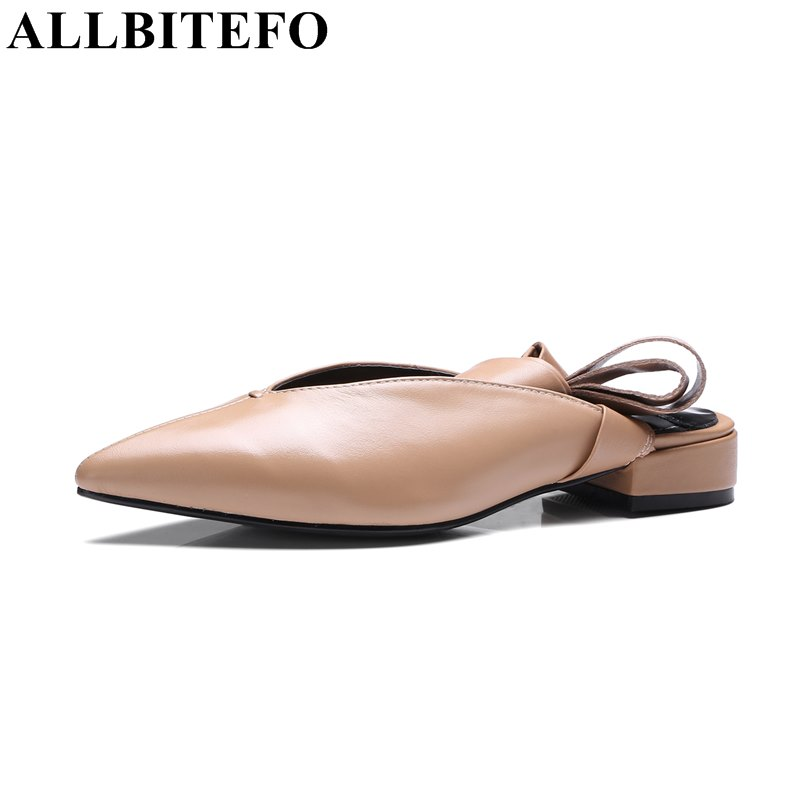 ФОТО ALLBITEFO fashion sexy genuine leather pointed toe low-heeled women pumps thick heel comfortable ankle strap ladies shoes woman