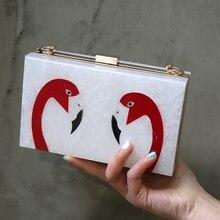 Mode Weiß Acryl frauen Handtaschen Zwei Seiten Flamingo Abendtasche Für Frauen Ketten Mini Geldbörse Bolsos Mujer Parteibeutel