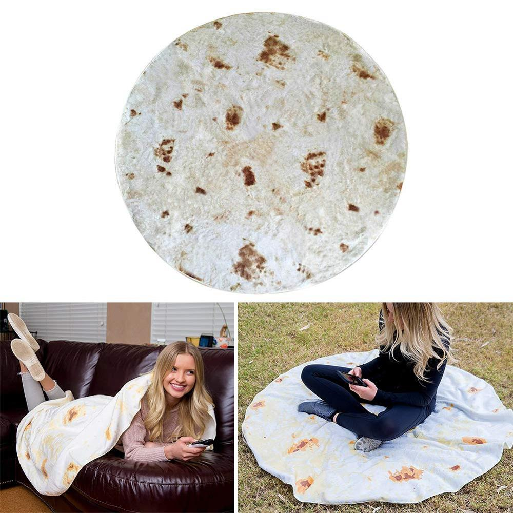 Camping Blanket Tortilla Blanket Letter Printing Rug Round Burrito Spot Carpet for Office Bedroom Outdoor Blanket Dropshipping in Camping Mat from Sports Entertainment
