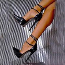 SHOFOO shoes, the sweet are free shipping, black PU, ankle strap, 12.5 cm high heel shoes,pointed toe pumps. SIZE:34-45