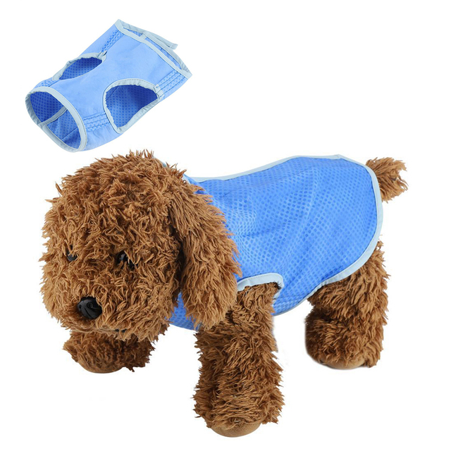 7559d831d8fa Summer Cooling Pets Dog Cat Teddy Clothes Blue Polyester Material Waistcoat  T Shirt Jacket Clothing Comfortable to Wear XS S M L