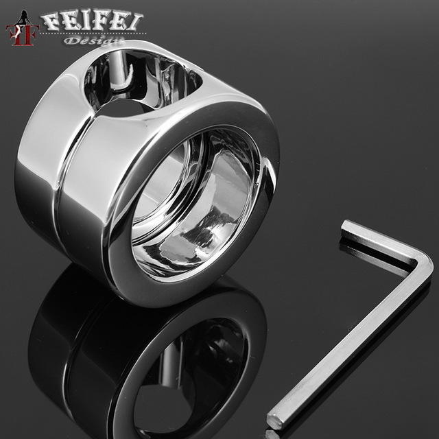 super heavy weight stainless steel metal screw lock penis rings testicle scrotum stretcher restraint cock ring sex toys for men