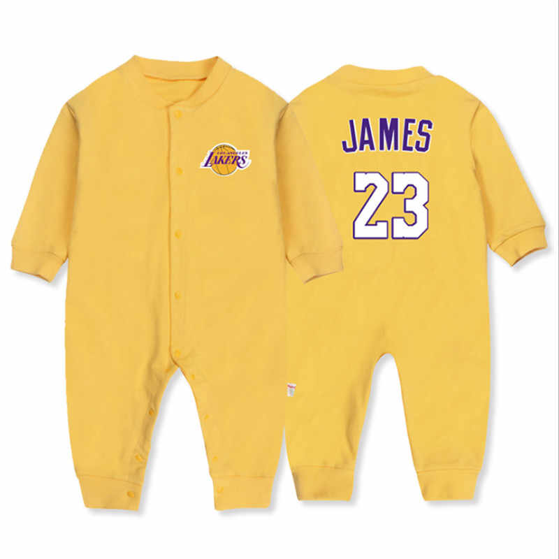 17d1a6b977c7db 2018 Autumn New Born Boy Clothing 100% Cotton Basketball Long Sleeve Romper  Baby Sport Clothes
