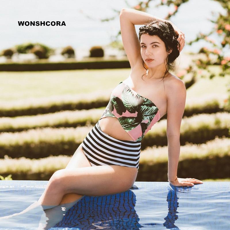 4e022039f WONSHCORA 2017 Hoja Verde Las Mujeres del Traje de Baño de Cintura Alta  Floral Bottoms Bikinis