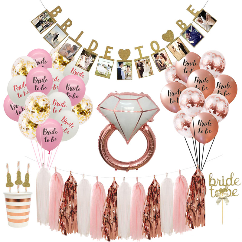 Chicinlife  Bride To Be Paper Banner Confetti Balloon Wedding  Temporary Tattoo Hen Bachelorette Bridal Shower Party Decoration