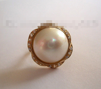 07477 round white south sea mabe pearl ring