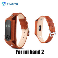 Teamyo Mi Band 2 Strap Colorful Leather Strap Wristband Replacement Smart Band Accessories For Xiaomi Mi